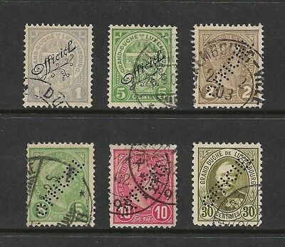 LUXEMBOURG - 1899 & 1908 Official stamps, overprints, perfins, used