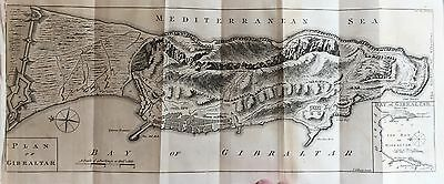 1762 FRENCH & INDIAN WAR newspaper large ENGRAVED Gibson MAP GIBRALTAR Spain