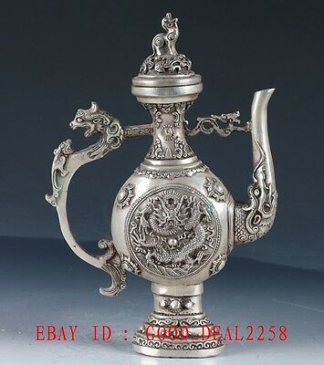 Old Chinese Silve Copper Hand Made DragonTeapot With Qianlong Mark BT103