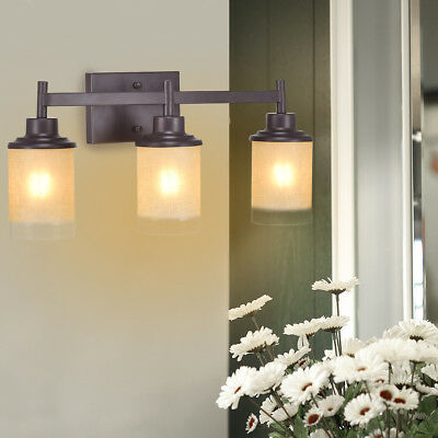 Vanity Light Wall Mounted 3 Light Bathroom Vanity Fixture Antique Bronze  Bulbs