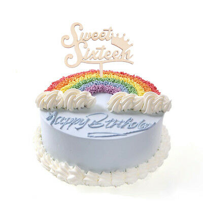 Sweet Sixteen Wooden Cake Topper Happy 16th Birthday Party Decoration