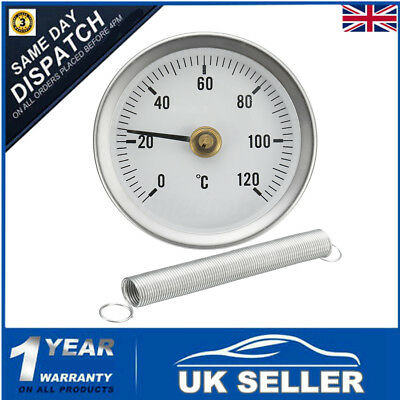0-120º C Pipe Clip On Dial Thermometer Temperature Temp Gauge & Spring 63Mm