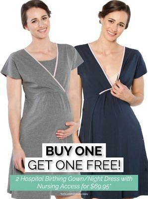 Hospital Birthing Gown & Breastfeeding Night Dresses Set