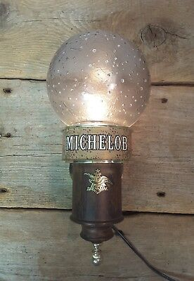 "Vintage MICHELOB Beer Advertising Wall Light Frosted Globe Sconce 14"" tall"
