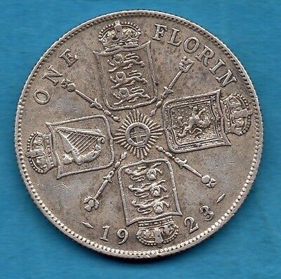 1923 King George V Florin Silver Coin.  Two Shillings.  2/-.