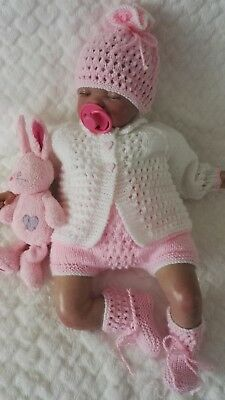 "Hand knitted baby cardigan set 0-3 months / reborn 19""-22"""