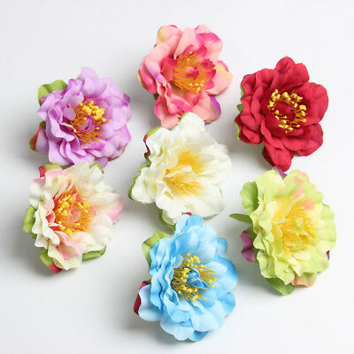 10pcs Artificial Flower Heads Silk Peony Heads for Wedding Flowers Hair Clips