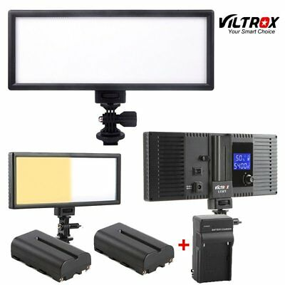 Viltrox L132 LED Slim LCD Bi-Color Dimmable Studio Video Light+2 battery+charger