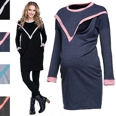 Happy Mama. Women's Maternity Breastfeed Sweatshirt Tunic Contrast Details. 317p