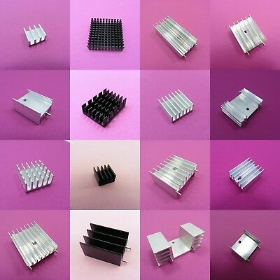 Small Heat Sink Aluminium Radiator Black, Silver, Gold Heatsink Cooling IC Chip