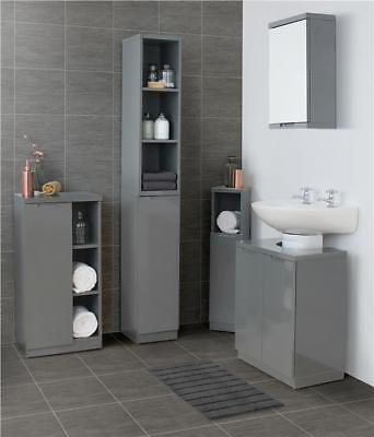 Grey Gloss Bathroom Furniture Range Storage Cabinet Cupboard Under Sink Mirror