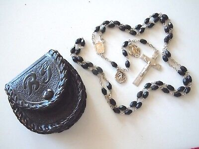† Priest Antique Black GLASS Beads & STERLING Silver Rosary w 2 Medals & Pouch †