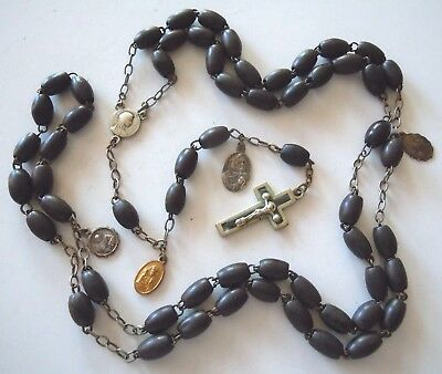 † NUN Early 1900s Antique WOODEN BEADS Rosary with Collection of 4 Medals †