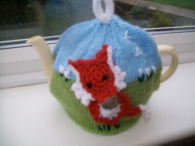 Hand Knitted  Fox Tea Cosy For A Medium Teapot 3-4 Cup Size