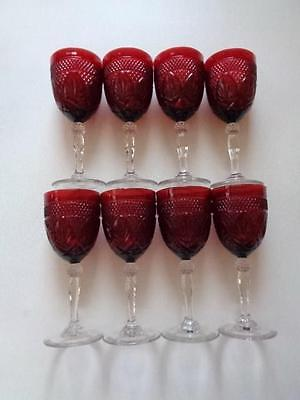 Lot Of 8 Ruby Red Cristal D'Arques Durand Cranberry Goblets Water Wine Glasses