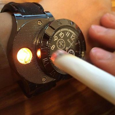 Fashion Military 2 in 1 Rechargeable USB Watch Lighter (Windproof) - Black