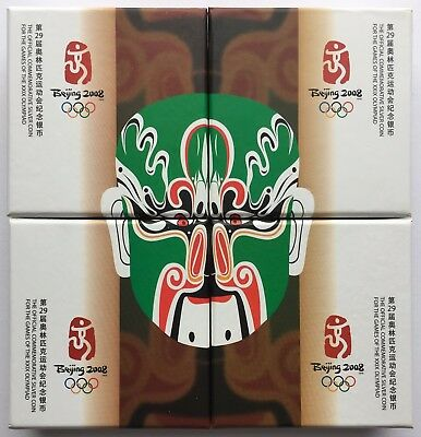2008 China BEIJING OLYMPICS 4 x 10 Yuan coin set, 1oz Silver Proof Coloured 10¥