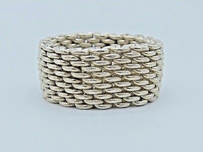 Authentic Tiffany And Co. Somerset Mesh Sterling Silver .925 Ring Size 7