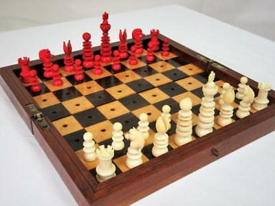 ANTIQUE CHESS SET STAMPED LUND  K 66 mm + ORIG TRAVEL CHESS BOARD -BOX RARE FIND