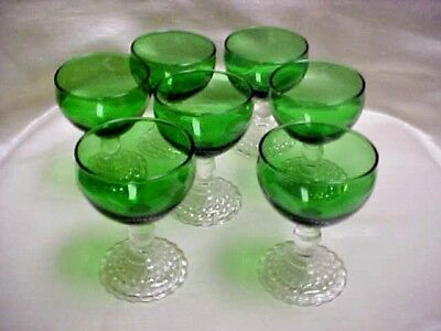 Vintage 1950's Forest Green Bubble Anchor Hocking Cocktail Wine Stem Lot of 7