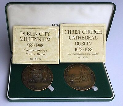 IRELAND 1988 Two Bronze Medal Set: Dublin Millennium + Christ Church Cathedral