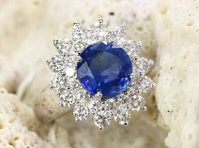 18K 3.39cts Fine Sapphire & Diamond Cluster Ring, Fine Sapphire Cocktail Ring
