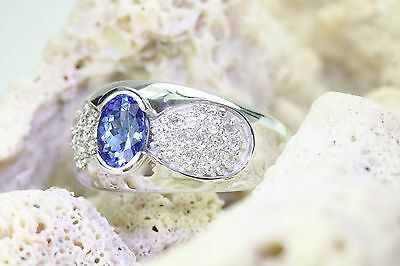 1.60 Ctw Natural Blue Tanzanite And Diamond Ring 14K Solid White Gold