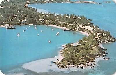 Somerset Bermuda aerial view over Cambridge Beaches boats vintage pc (Z41159)