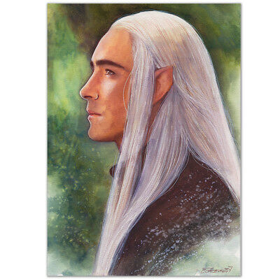 """ORIGINAL AQUARELL """"A meeting in the forest"""" WATERCOLOR LEE PACE THRANDUIL HOBBIT"""