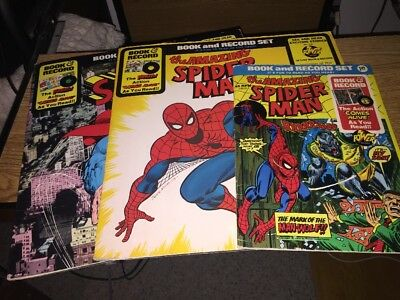 Superman & Spiderman Book and Record Sets