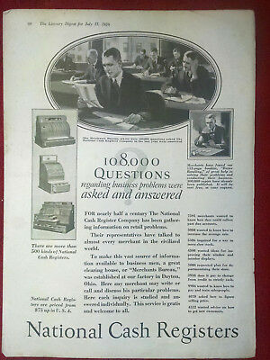 1926 National Cash Register Business Probles Asked Answered Original  Ad ORIGINL