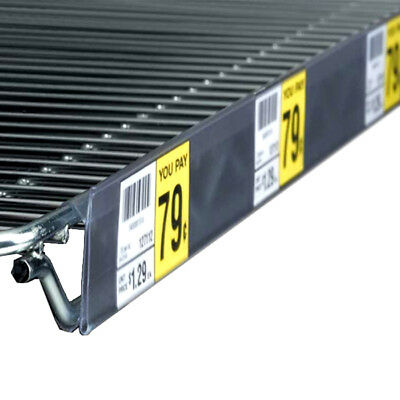 "44"" L x 1.25"" H Wire Shelf Label Ticket Holder Strip for Nexel or Metro Shelves"