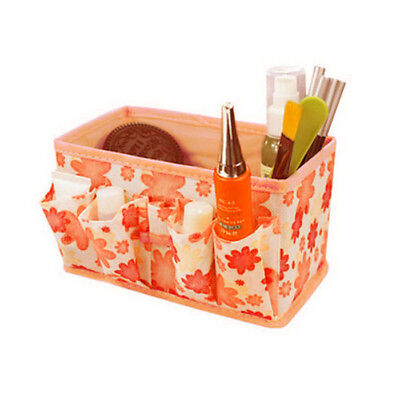 Makeup Cosmetic Storage Bag Bright Organiser Foldable Stationary Container Orang