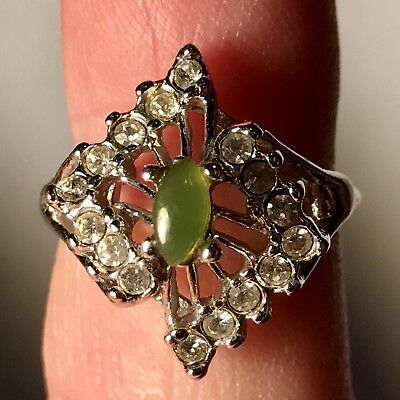 Vintage Silver Sz 7 Rhinestone and Green Stone Ring Uncas Manufacturing Company