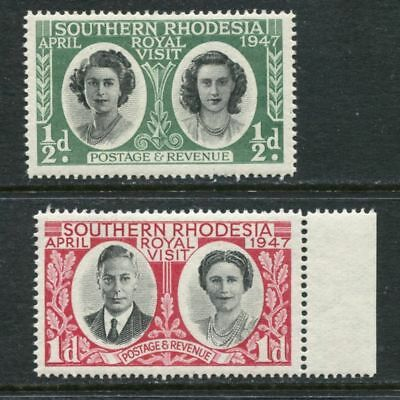Southern Rhodesia: 1947 Royal Visit set of 2 stamps SG62-63 MNH AH174