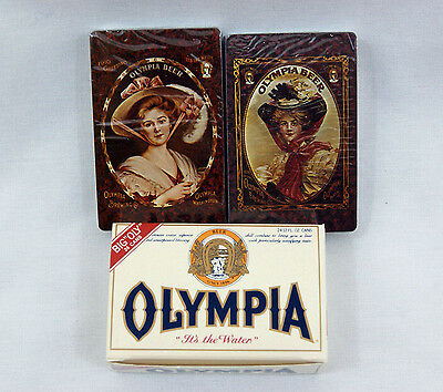 Vintage 1970's White Olympia Beer Case Two Deck Playing Card Set
