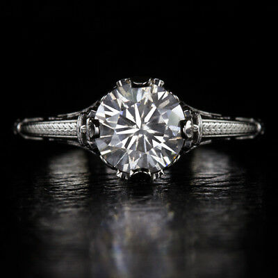 1.19ct ROUND CUT  NATURAL DIAMOND VINTAGE BLACK GOLD SOLITAIRE ENGAGEMENT RING