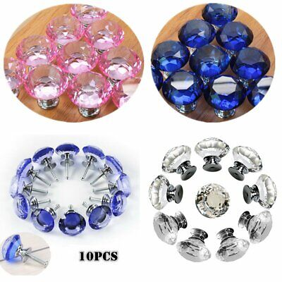 10 PK Crystal Door Knob Cabinet Drawer Cupboard Pull Handle Pink Blue Clear 30mm