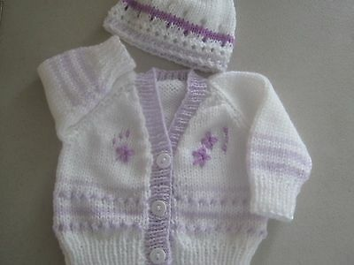 Sale;;;   New Born Size White/ Lilac Hand Knitted Baby Cardigan complete set