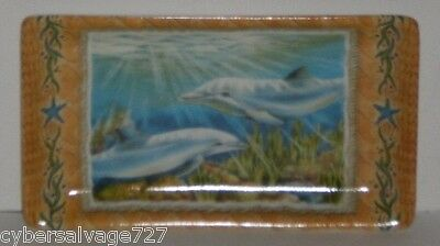 Set of 2 Dolphins at Play Ceramic Decorative Dish Nautical Plate Great Gift Item