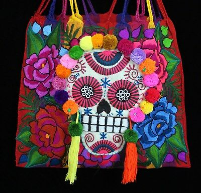 Day of the Dead Hobo Bag Red & Striped Hand Woven Sugar Skull Mexico Chiapas