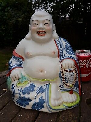 "Extra Large 10"" Porcelain Happy Laughing Buddha Famille Rose Vintage"