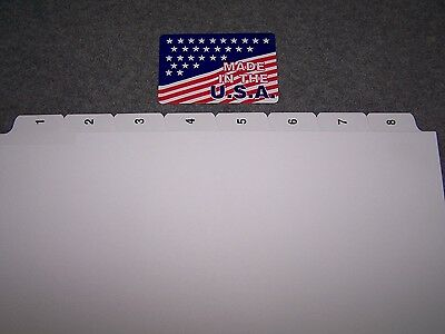 # 1-8 Numbered Index Tab dividers 500 SETS $ .89 per set Made in USA