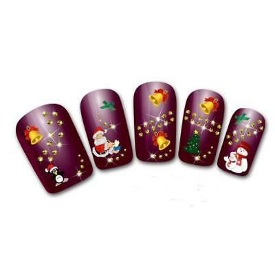 Women's Christmas 3D nails Water Transfer Stickers Finger*