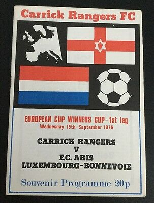 Carrick Rangers v  Aris Luxembourg European Cup Winners Cup 15/09/76