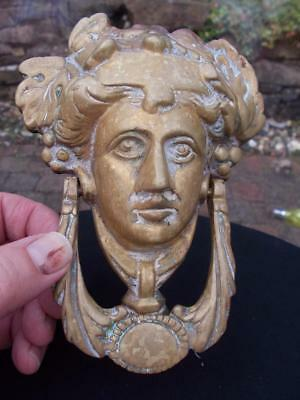 Old Heavy Brass Door Knocker Roman Greek Godess With Fixing Bolts & Nuts