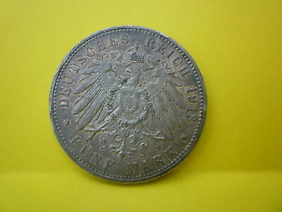 German Silver Coin 5 Marks 1913