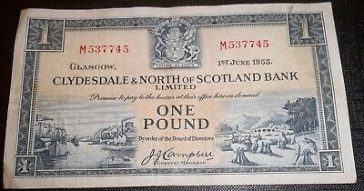 Clydesdale & North Of Scotland Bank Limited - £1 - 1955 - 1 Jun - M - S 62 A