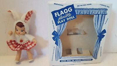 """Vintage FLAGG & CO Miniature 4"""" Flexible Rubber Play Doll BUNNY GIRL Easter IOB"""
