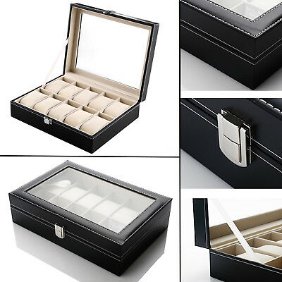 New 10 Grid Jewelry Watch Display Box Case Storage Organizer Holder Showcase UK